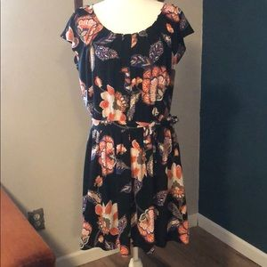 NWOT Lauren Conrad floral black dress